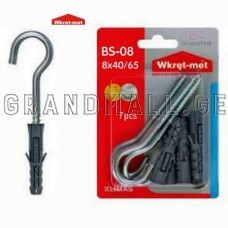 Dowel with round hook Wkret-met BS-08 8x40/65 mm 7 pcs